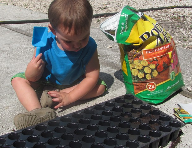 Planting a garden with kids