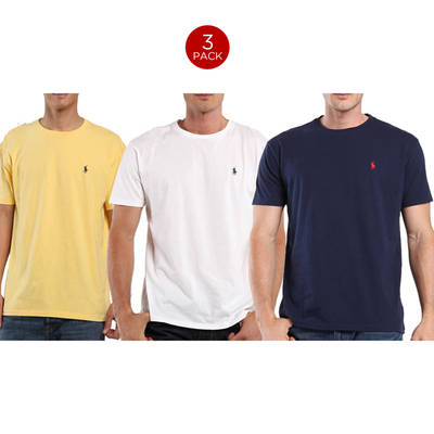 64151a6dd5 3 Pack: Polo by Ralph Lauren Mens Pony Logo Classic Fit T-Shirts ...
