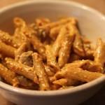 Red Roasted Pepper Basil Pesto Mushroom Penne Pasta