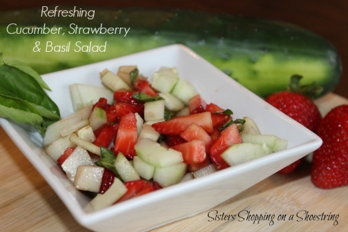 Refreshing Cucumber Strawberry and Basil Salad
