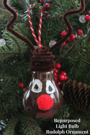 repurposed rudolph light bulb christmas ornament - Rudolph Christmas Decorations
