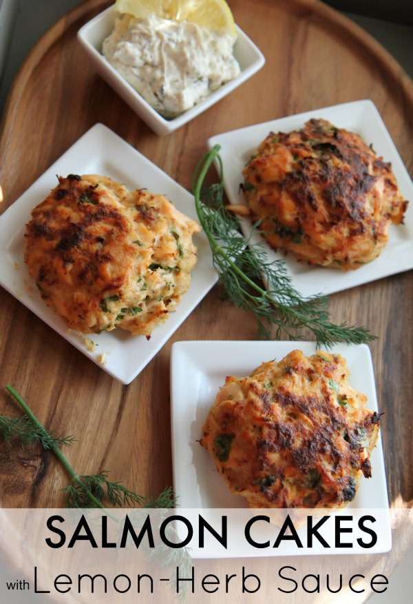 Salmon Cakes with Lemon Herb Sauce made with Ingredients from Market District