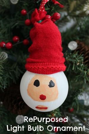 Santa Light Bulb Christmas Ornament