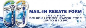 Schick Hydro 300x99 Schick Hydro Rebate Offer