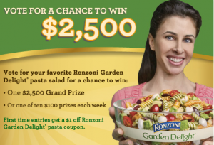 Screen shot 2011 05 25 at 9.45.34 AM 300x204 Ronzoni Garden Delight Sweepstakes = $1/1 Coupon