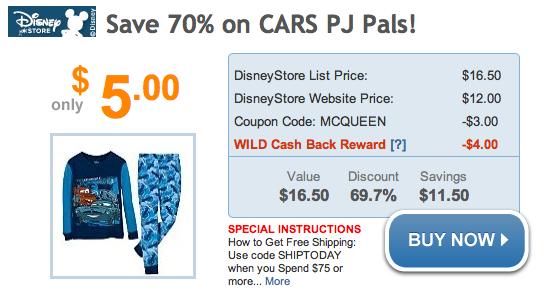 Disney Store: $5 Cars PJ Pals w/Shop at Home - BargainBriana