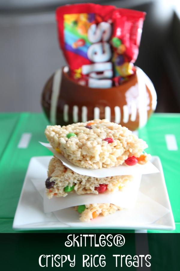 Skittles Cripsy Rice Treats - Inexpensive way to add color to your game day parties
