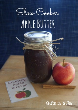 Slow Cooker Apple Butter Mason Jar Gift