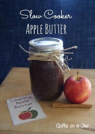 Slow Cooker Apple Butter Mason Jar Gift