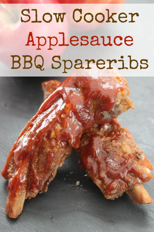 Slow Cooker Applesauce BBQ Spareribs
