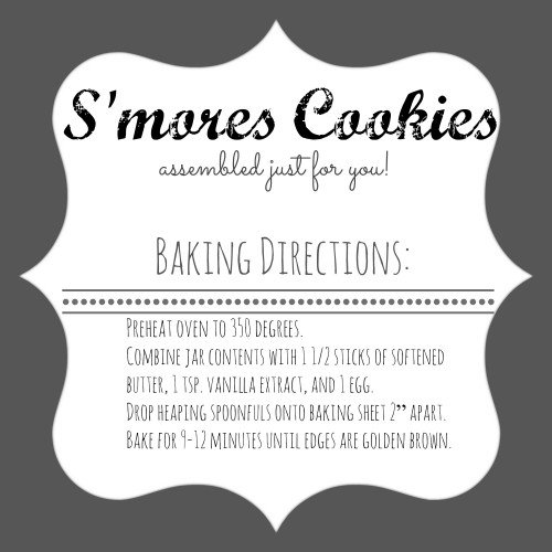 Smores Cookies Directions Label