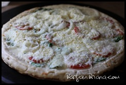 Spinach Tomato Onion Pizza