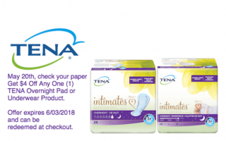 Save $4 Off Any One (1) TENA® Overnight Pad or Underwear Product at Walmart or Walgreens