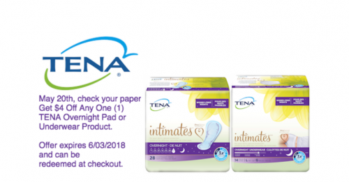 Save $4 Off Any One (1) TENA®Overnight Pad or Underwear Product at Walmart or Walgreens