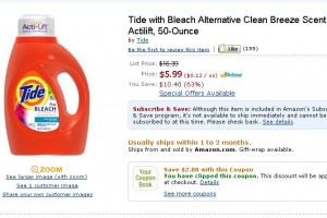 Tide w/Bleach Alternative (50 oz) $3.99 Shipped