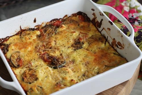 Tomato parmesan feta zucchini bake