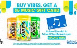 Buy Trident VIBES® gum, Get $5 iTunes gift card (Through November 1st)