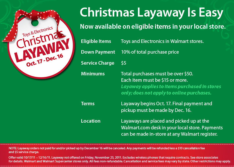 some of you are going to like this one walmart is bringing back layaway for the holidays it will be available on eligible items in your local store - When Does Walmart Christmas Layaway Start
