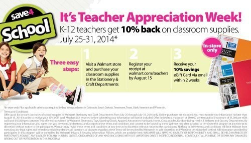 Walmart Teacher Appreciation Week | Get 10% Back on School Supplies