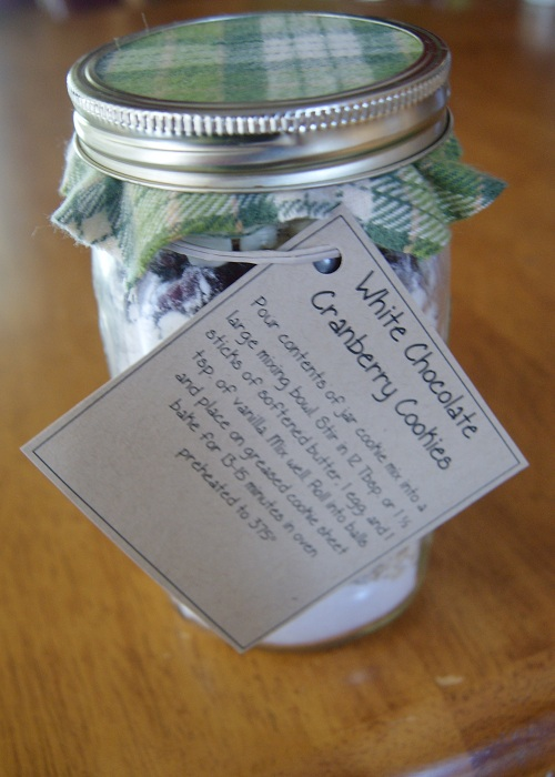 White Chocolate Cranberry Cookies Mason Jar Gift Idea