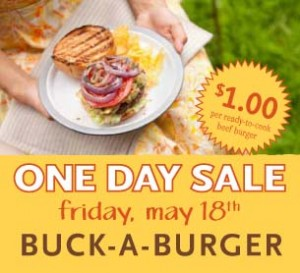 Whole Foods: Buck Burger Sale on 5/18