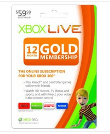 Xbox Live Gold Xbox Live 12 Month Gold Membership $38.99 (Retail $60)