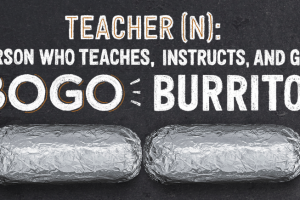 B1G1 Burrito, Bowl, Salad, or Tacos at Chipotle for Teachers on 5/8