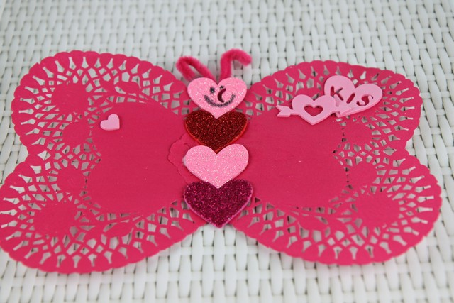 butterfly valentine doilies