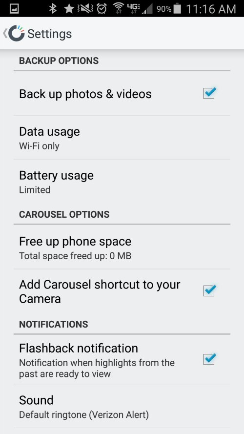 carousel back up options