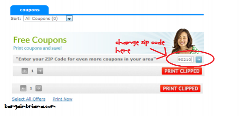 change zip codes on coupons dot com