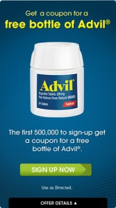 free bottle advil 167x300 Free Bottle of Advil Coupon
