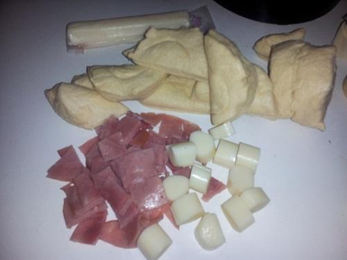 ham cheese monkey bread prep