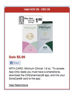 $3/1 Mitchum Clinical Deodorant = $1.99 at CVS
