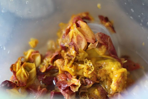 peach peels after peeling for freezing peaches