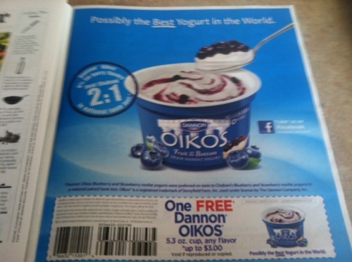 Parade Magazine: FREE Dannon Oikos Yogurt Cup Coupon
