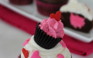 Raspberry Buttercream Filled Cupcakes