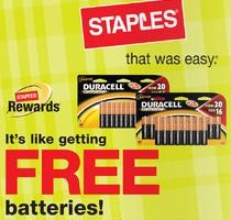 Staples: Free Batteries after Rewards + Other Deals