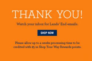 $5 Shop Your Way Rewards When You Sign Up for Lands' End Emails