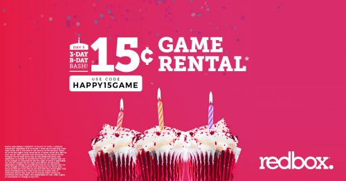 15¢ Game Rental at Redbox Today only!