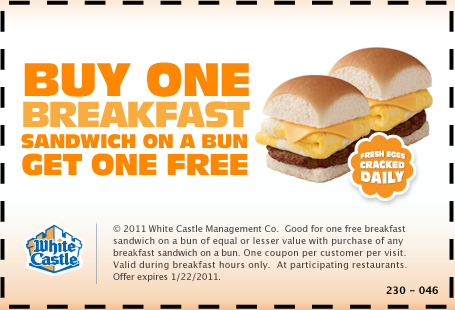 white castle breakfast coupons